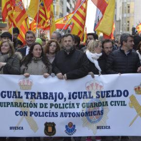 Ciudadanos Huesca acompaña a Jusapol en la manifestación por la equiparación salarial de Policía Nacional y Guardia Civil