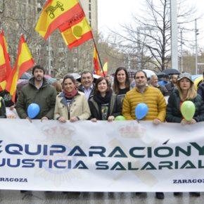Ciudadanos Aragón apoya a Jusapol en la manifestación por la equiparación salarial de Policía Nacional y Guardia Civil