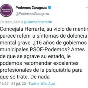 Ciudadanos rechaza el intolerable ataque de Podemos Zaragoza a la consejera Carmen Herrarte